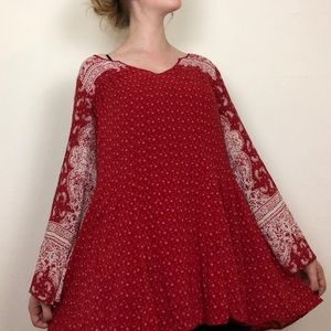 Free People Boho Long Sleeve Tunic Dress